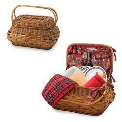 Picnic Time Highlander Red Tartan New England Patriots Engraved Picnic Basket