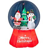 Gemmy Inflatable Airblown Snow Globe with Santa and Snowman Outdoor Christmas Decoration with Incandescent White Lights