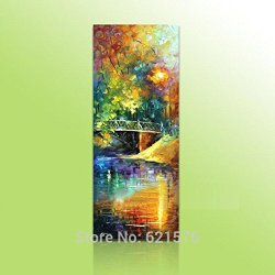 Hand-Painted Big Size Modern Wall Art Picture Hall Home Decor Bridge River Thick Palette Knife Landscape Oil Painting On Canvas