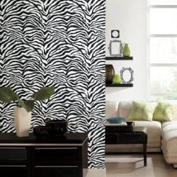 Wall In A Box Wib1014 Zebra Accentuated Wallpaper, Black, White