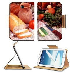 Cucumber Bread Tomato Baked Goods Herbs Knife Samsung Galaxy Note 8 Gt-N5100 Gt-N5110 Gt-N5120 Flip Case Stand Magnetic Cover Open Ports Customized Made To Order Support Ready Premium Deluxe Pu Leather 8 7/16 Inch (215Mm) X 5 11/16 Inch (145Mm) X 11/16 In
