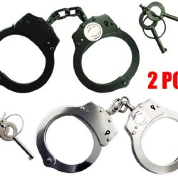 Set Of 2Pc Double Lock Police Official Nickel Plated Handcuffs Black & Silver