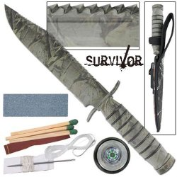 Fighter Survivor Camouflage Military Hunting Survival Knife W/ Kit & Sheath