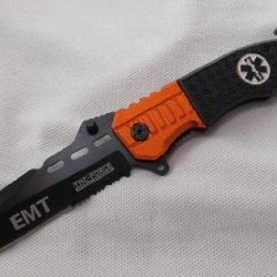 Reel Steel Emt Anodized Handle Folder Pocket Knife W/ Glass Breaker