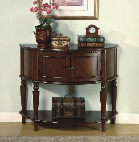 Image of Brown Finish Storage Entry Way Console Table / Hall Table (VF_950059)