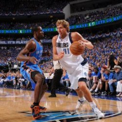 Oklahoma City Thunder V Dallas Mavericks - Game Two, Dallas, Tx - May 19: Dirk Nowitzki And Serge I Photographic Poster Print By Andrew Bernstein, 8X12