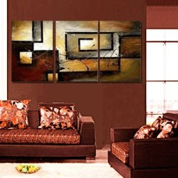 Sangu 100% Hand Painted Wood Framed 3-Piece Hot Sale Modern Rectangle For Abstract Oil Painting Gift Canvas Wall Art For Home Decoration