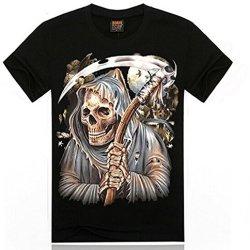 Black Cotton 3D Print Animal Evil Skull Skeleton Knife Shirt T-Shirt Men'S