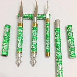 Green 3 Pcs Set Carving Knife Knive Brass Stainless Thai Handmade Vegetable Fruit Soap Lot