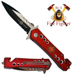 """3.25"""" """"Fire Fighter Two-Tone Spring Assisted Tactical Rescue Knife"""