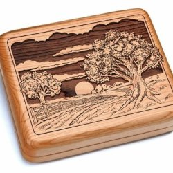 "5X6"" Box With Double Pocket Knives - Sunset Field"