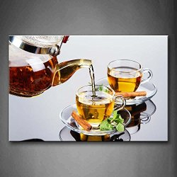 Brown Tea In Cup With Herb And Leaf Wall Art Painting Pictures Print On Canvas Food The Picture For Home Modern Decoration