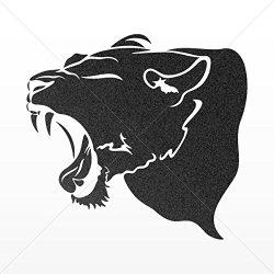 Decal Sticker Panther Head Car Door Hobbies Waterproof Racing Durable Mettalic Black (10 X 9.32 In)