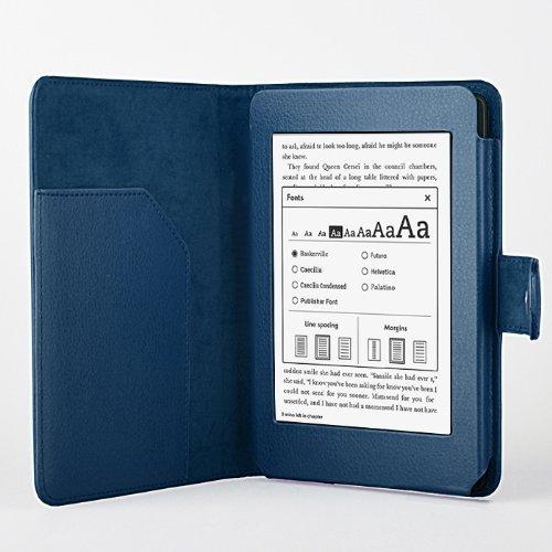 [Present-web] Kindle Paperwhite 6インチ用 レザーケース (全11色) キンドル ペーパーホワイトLeather case (ネイビー)