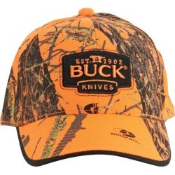Buck Knives 89054 Mossy Oak Blaze Orange Camo Buck Logo Cap