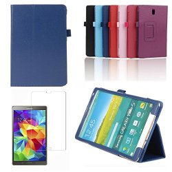 Eeekit Starter Kit For Samsung Galaxy Tab S 8.4 Sm-T700/Sm-T705, Portable Folio Stand Smart Cover Case + Tempered Glass Screen Protector Saver Guard (Dark Blue)