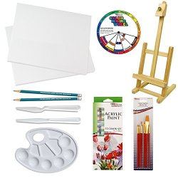 Custom Small Canvas Painting Set With Mini Studio Easel, Two Canvases: 10X 10 Inch And 8 X 8 Inch And 12-12Ml Acrylic Paint Colors, And 7-Pc Paint Brush Set