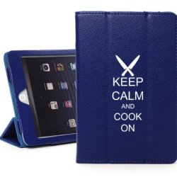 Apple Ipad 2 3 4 Blue Leather Magnetic Smart Case Cover Stand Keep Calm And Cook On Chef Knives