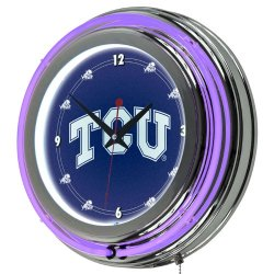 Texas Christian University Neon Clock - 14 Inch Diameter Texas Christian University Neon Clock - 14