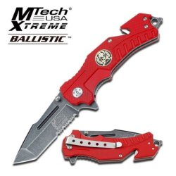Mtech Usa Xtreme Knives Mx-A810Rd Ballistic Series Assisted Rescue Seat Belt Cutter And Glass Breaker