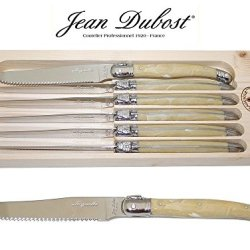 "French Laguiole Dubost - Horn - 6 Round Tip Table Dinner Knives - 9""/23Cm - Also Used As Butter Knife/Spreader (Serrated Wavy Edge - Original Genuine Laguiole - Quality Family White Color Flatware/Cutlery Setting For 6 People - With Certificate Of Authent"