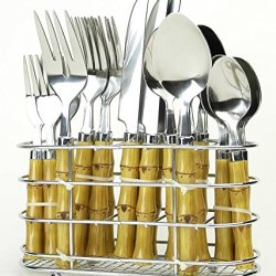 18/0 Durable Stainless Steel Bamboo Styled High Impact Plastic Handles Polished Finish - Never Need Polishing Dishwasher Safe - Comes With A Chrome Rack