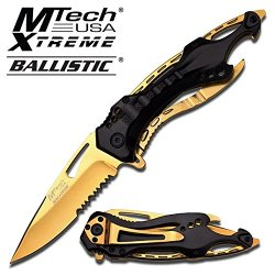 """Midas Touch"" Thunderbolt Tactical Folding Knife - Black And Gold"