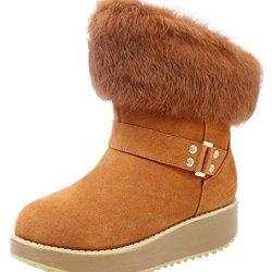Guciheaven Women Winter New Swede Leather Cute Platform Short Boots(8.5 B(M)Us, Tan)