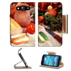 Cucumber Bread Tomato Baked Goods Herbs Knife Samsung Galaxy S3 I9300 Flip Cover Case With Card Holder Customized Made To Order Support Ready Premium Deluxe Pu Leather 5 Inch (132Mm) X 2 11/16 Inch (68Mm) X 9/16 Inch (14Mm) Liil S Iii S 3 Professional Cas