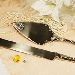 Wedding Knife And Wedding Cake Server Set Heart With Personalized Engraved