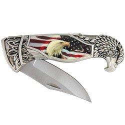 Patriotic Eagle Head And Usa Flag Folding Knife With Presentation Case