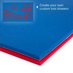 "U-Cut Custom Foam Organizers For Toolbox Drawers (16""X22"") : Blue / Red"