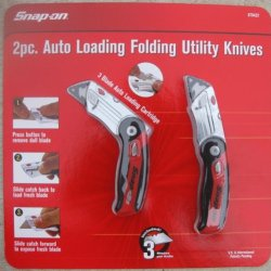 2 Pc Auto Loading Folding Utility Knives - By Snap On