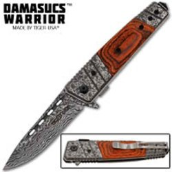 """Damascus Warrior"" Wooden Handle Folding Knife By Tiger Usa"