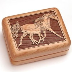 """3X4"""" Box With Money Clip/Pocket Knife - Mare & Foal"""