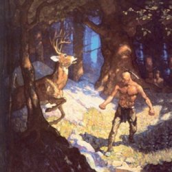 Uncas Slays The Deer, By N.C. Wyeth, 12X18 Poster, Heavy Stock Semi-Gloss Paper Print