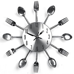 Ciamlir Modern Design Sliver Color Cutlery Kitchen Utensil Wall Clock Spoon Fork Clock
