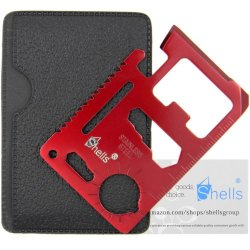 Shells Version 2 Red Color Tungsten Steel Plating Military Pocket Credit Card Knife Emergency Camping Survival Kit