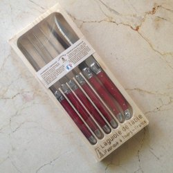 Jean Dubost Laguiole 6-Piece Steak Knives - Red