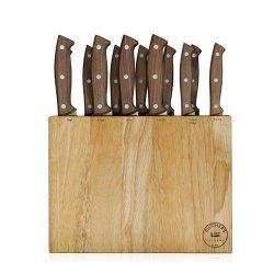 Kitchen Cutlery Set, 13-Piece, Real Walnut Wood Handles, Butcher Block
