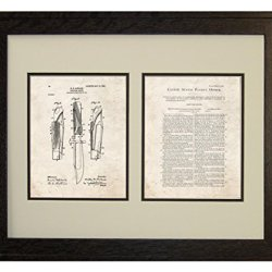 """Hunting-Knife Patent Art Old Look Print In A Rustic Oak Wood Frame (16"""" X 20"""")"""