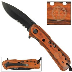 Lifesaver Assisted Serrated Drop Point Tip Folding Pocket Knife