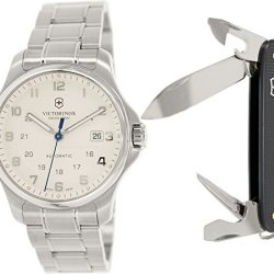 Victorinox Swiss Army Officer'S Men'S White Dial Stainless Steel Automatic Watch 241673.1 - With Knife