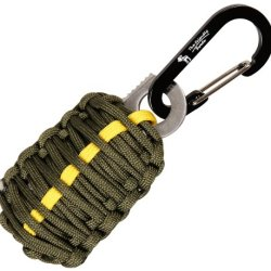 "With Sharp Eye Knife - The Friendly Swede Carabiner ""Grenade"" Survival Kit Pull With Needle, Wire, Alcohol Pad, Tin Foil, Tinder, Fire Starter, Fishing Lines, Fishing Hooks, Weights, Swivels, Dobber Wrapped In 9Ft Of 500 Lb Paracord In Retail Packaging -"