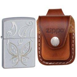 Zippo Satin Chrome, Golden Butterfly