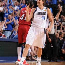 Miami Heat V Dallas Mavericks - Game Three, Dallas, Tx -June 5: Dirk Nowitzki Photographic Poster Print By Andrew Bernstein, 8X12