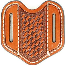 Nocona Men'S Basketweave Vertical Sleeve Leather Sheath Tan One Size