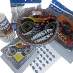 Monster Truck Birthday Party Supplies - Plates, Napkins, Silverware, Cups, Tablecover, & Matching Kiss Labels Favors