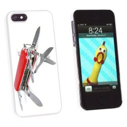 Graphics And More Multi-Function Knife Screwdriver - Snap-On Hard Protective Case For Apple Iphone 5/5S - Non-Retail Packaging - White