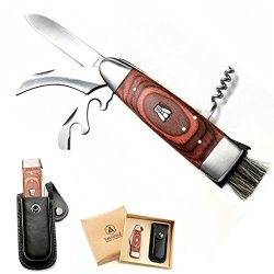 Laguiole Mushroom Knife With Black Leather Case. Multifunction Knife With With 2 Blades (Long, And Short For Mushrooms), Solid Corkscrew, Wine Opener, Foil Cutter And Small Brush. Cardboard Giftbox. L 20Cm Open/12Cm Closed. Stainless Steel. Belt Clip Loop